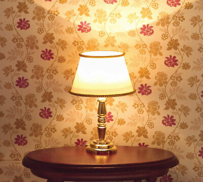 1/12 Scale Dolls House Emporium Table Lamp, White & Gold Light 12V 7048 • 11.95£
