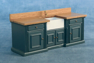 1/12 Scale Dolls House Emporium 'Smallbone' Kitchen Sink Unit Blue/Pine 9334 • 25.95£