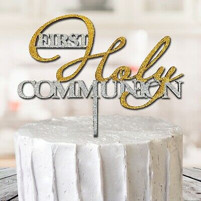 First Holy Communion Baptism Cake Topper Decoration Glitter MDF Cross Sparkly • 6.99£