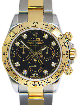 $ CDN20691.72 • Buy Rolex Daytona 18k Yellow Gold & Steel Black Diamond Dial Mens 40mm Watch 116523