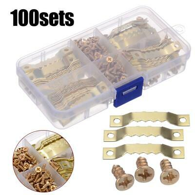 100Set Picture Saw Tooth Hanger Brassed Canvas Frame Screw Hooks Hanging Listing • 6.12£