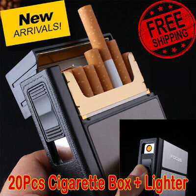 20Pcs Cigarette Lighter Case Box With Electronic Lighter Flameless Windproof Box • 6.69£