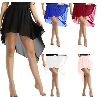Womens Adult Asymmetrical High-Low Dance Dress Chiffon Lyrical Ballet Wrap Skirt • 7.93£