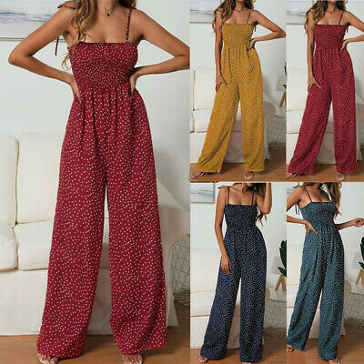 Women's Summer Playsuit Jumpsuit Wide Leg Dot Strappy Bandeau Elasticated • 10.92£