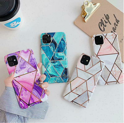 AU13.99 • Buy Geometric Marble Case Soft Pastel Cover For IPhone 11 Pro Max XS XR 7 8 Samsung