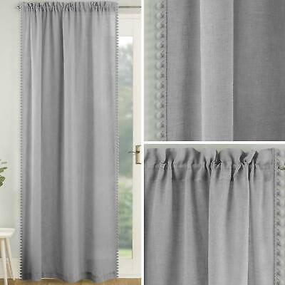 Grey Voile Curtain Pom Pom Trim Panels Slot Top Sheer Plain Linen Style Voiles • 15.95£