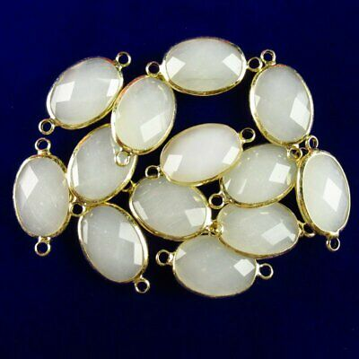 $ CDN21.47 • Buy 10pcs Wrapped Faceted White Agate Oval Connector Pendant 18x13x6mm A-55BBS