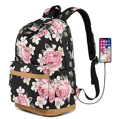 $29.42 • Buy Teens School Backpack, Canvas Girls Bookbags With USB Charging Port, Fit For 14
