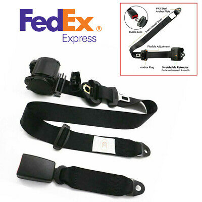 $29.89 • Buy US Stock Polyester Car Adjustable 3-Point Retractable Safety Seat Belt Universal