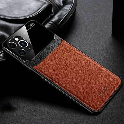 Luxury Faux Leather Phone Case Lens Protection Soft Cover For IPhone 12 11 XR XS • 8.35£