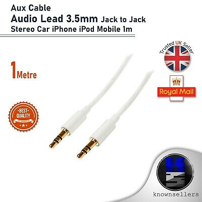 Aux Cable Audio Lead 3.5mm Jack To Jack Stereo Car IPhone IPod Mobile 1m • 1.50£