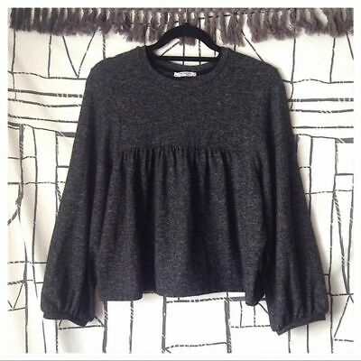 $10 • Buy Zara Wide Sleeve Dark Gray Pleated Knit Bishop Long Sleeve Top Women's Size L