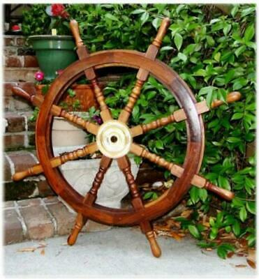 36 Inch Big Ship Steering Wheel Wooden Antique Teak Brass Nautical Pirate Ship's • 69.90£