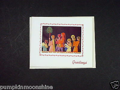 #F822- Vintage Margaret Tarrant Xmas Greeting Card Holiday Carolers Singing • 13.02£