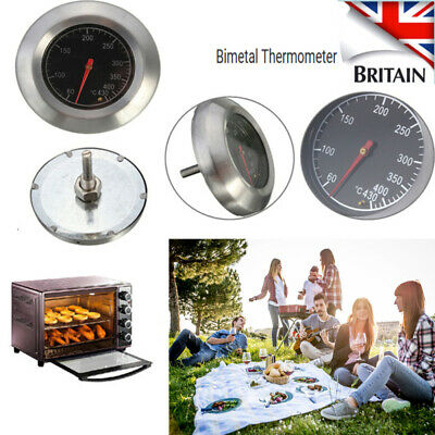 Stainless Steel BBQ Grill Oven Bimetal Dial Thermometer Gauge Useful Tool UK • 7.35£