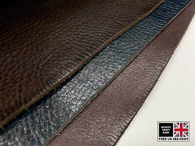 DYED VEG TAN LEATHER COWHIDE CRAFT 1.8-2mm THICK 3 COLOURS OIL-WAXED • 6.75£