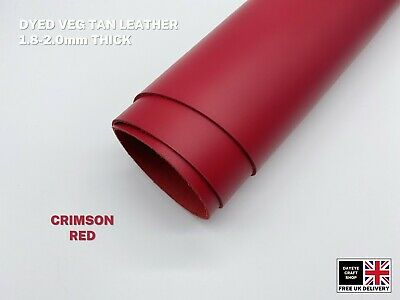 Dyed Veg Tan Leather Cowhide Craft 1.8-2mm Thick Crimson Red • 6.50£