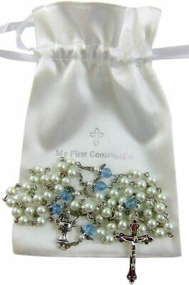 First Holy Communion Angel Wings Rosary Metal Crucifix And Center With Gift Bag • 8.55£