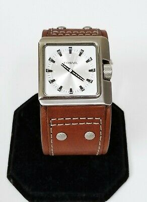 $184.99 • Buy New Fossil Silver Tone,brown Luggage Leather Cuff Band Watch Jr9715
