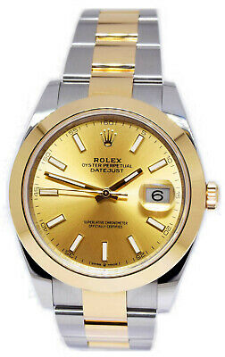 $ CDN16012.72 • Buy Rolex Datejust 41 18k Yellow Gold & Steel Champagne Dial Watch Box/Papers 126303