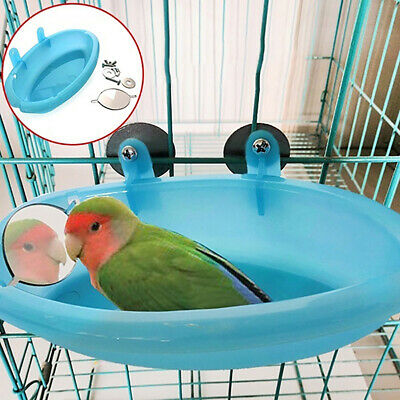 Mini Plastic Bird Cage Bath Basin With Mirror For Pets Bird Parrot Bathtub A4 UK • 5.15£