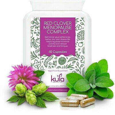 Red Clover Herbal Menopause Support Plus Soya Isoflavones, Wild Yam 60 Capsules • 15.99£