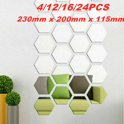 Large Acrylic Mirror Tiles Hexagon Mosaic Wall Stickers Self-Adhesive Home Decal • 8.99£