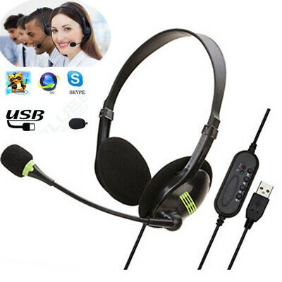 USB Noise Cancelling Microphone Headset Call Centre Office Telephone Corded • 10.99£