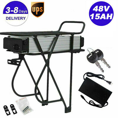 $331.50 • Buy 48V 14Ah Ebike Electric Battery Lithium Li-ion Rear Rack For 1000W Bicycle Motor