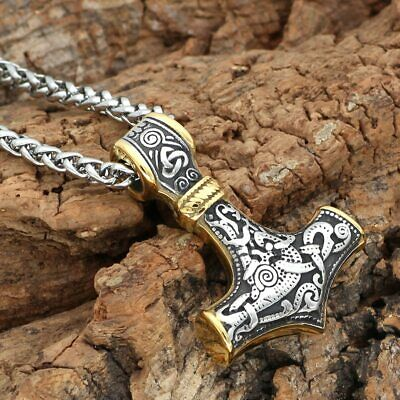 Sturdy Viking/Mjolnir/Thor Hammer Stainless Steel Silver/Gold Pendant Necklace • 8.45£