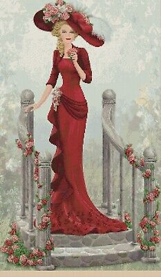 Cross Stitch Chart   Elegant Lady EL156kk Full Length Flowerpower37-uk • 4£