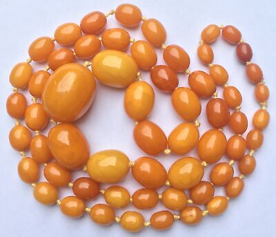 £1500 • Buy GENUINE Antique EGG YOLK BUTTERSCOTCH Chunky AMBER BEAD NECKLACE 47g 2.5cm Bead