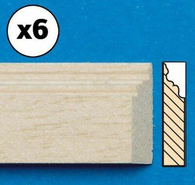 1/12 Scale Dolls House Emporium Unvarnished Bare Wood Skirting Board Pk 6, 7018 • 8.95£