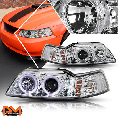 $124.89 • Buy For 99-04 Ford Mustang Halo Ring LED DRL Projector Headlight/Lamp Chrome Housing