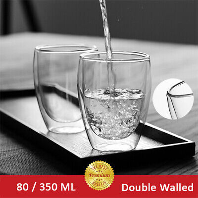 Set Of 2 Double Walled Insulated Glasses Coffee Glass Mugs Thermal Espresso Tea • 8.99£