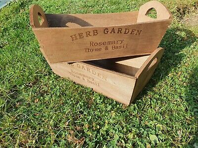 2×Wooden Garden Herb Garden Planter Window Box Trough Pot Flower Plant New • 9.99£
