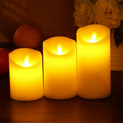 Battery Power Wax Flameless Flickering LED Candles Christmas Home Decor UK • 11.99£