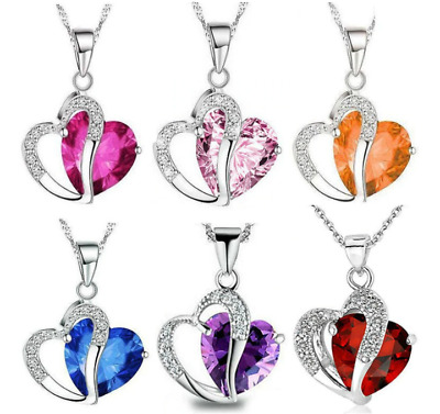 £3.49 • Buy  Silver Heart Crystal Stone Pendant Chain Necklace Womens Ladies Jewellery Gift