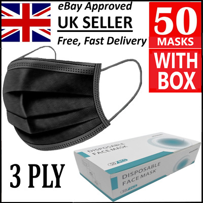 Boxed Black 3 Ply Disposable Face Masks Medical Surgical Covering Aarton Mask • 9.95£