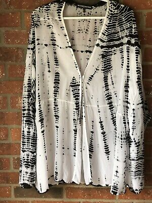$ CDN42.35 • Buy Anthropologie Nu Construction Black And White Tie Dye Oversized Boxy Blouse XS/S