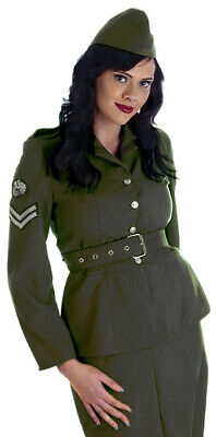 Ladies Army Soldier Fancy Dress Costume 1940s WW2 Khaki Outfit Uniform 8-10 NEW • 19.99£