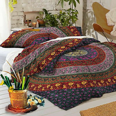 Indian Mandala King Double Duvet Quilt Cover Bedding Ethnic Boho Blanket Set • 25.19£