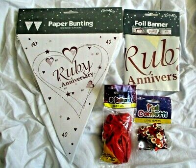 Ruby Wedding Bunting Banners Balloons Confetti Decoration Party 40th Anniversary • 3.90£