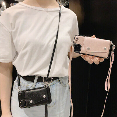 AU12.76 • Buy Crossbody Card Wallet With Long Rope Holder Flip Leather Phone Bag Case Cover