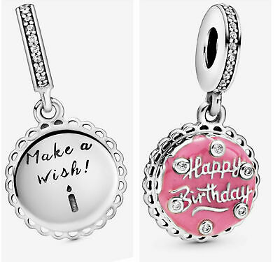 💎🎀 Sterling Silver 925 Happy Birthday Cake Make A Wish Charm & Gift Pouch • 11.70£