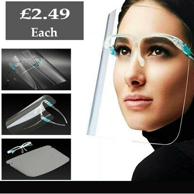 Face Shield Full Face Visor Protection Mask Ppe Shield Transparent Clear Plastic • 3.79£