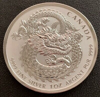 $ CDN49.95 • Buy 2018 FINE 1oz .9999 SILVER CANADA DRAGON HIGH RELIEF $5 DOLLARS BULLION COIN