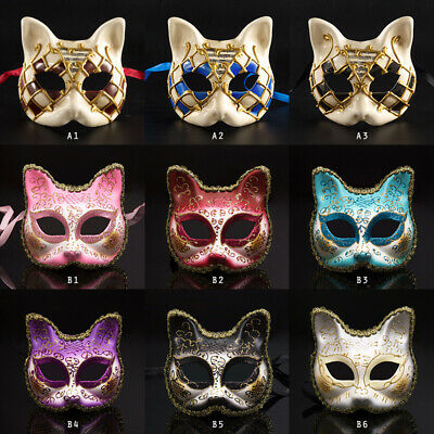 Cat Face Mask Venetian Masquerade Masks Halloween Costume Mardi Gras HOT • 7.25£
