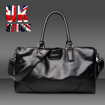 Men Leather Retro Duffle Luggage Weekend Gym Overnight Travel Tote Bag Black  • 13.38£