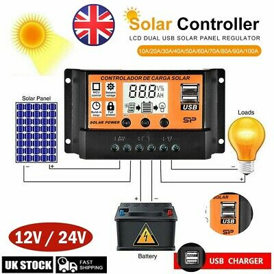 30/50/100A LCD MPPT/PWM Solar Panel Battery Regulator Charge Controller Dual USB • 9.99£